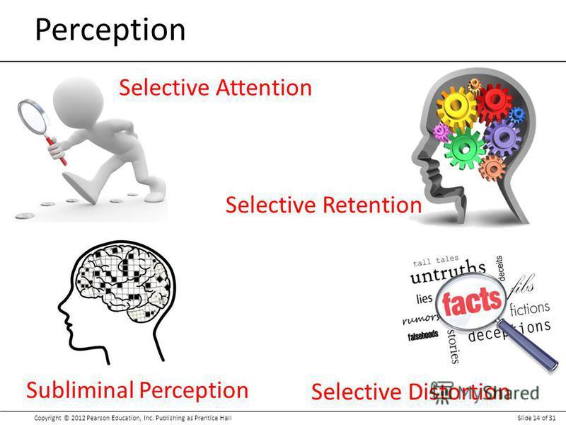 Copyright © 2012 Pearson Education, Inc. Publishing as Prentice HallSlide 14 of 31 Perception Selective Distortion Selective Retention Selective Attention Subliminal Perception