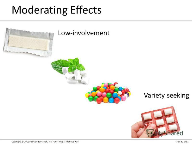 Copyright © 2012 Pearson Education, Inc. Publishing as Prentice HallSlide 30 of 31 Moderating Effects Low-involvement Variety seeking