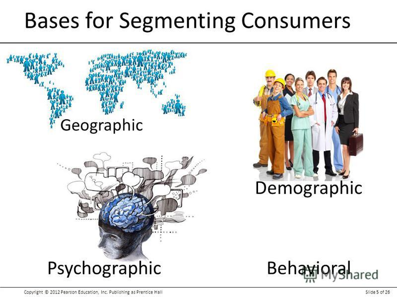 Copyright © 2012 Pearson Education, Inc. Publishing as Prentice HallSlide 5 of 26 Bases for Segmenting Consumers Geographic Demographic PsychographicBehavioral