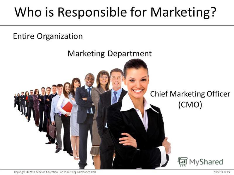 Copyright © 2012 Pearson Education, Inc. Publishing as Prentice HallSlide 17 of 25 Who is Responsible for Marketing? Chief Marketing Officer (CMO) Entire Organization Marketing Department
