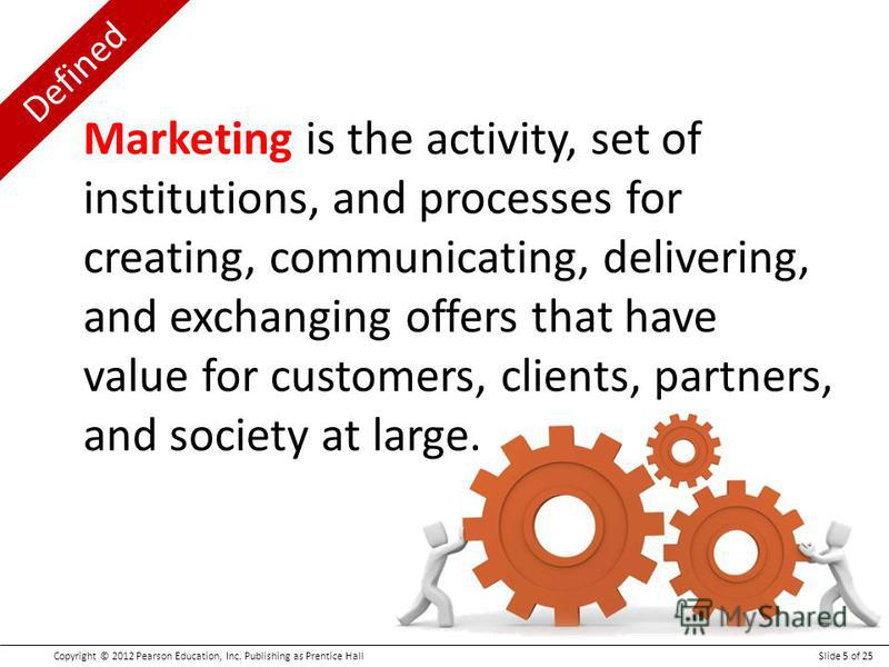 Defined Copyright © 2012 Pearson Education, Inc. Publishing as Prentice HallSlide 5 of 25 Marketing is the activity, set of institutions, and processes for creating, communicating, delivering, and exchanging offers that have value for customers, clie