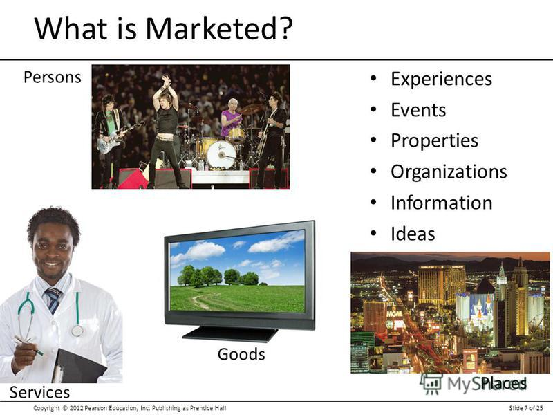 Copyright © 2012 Pearson Education, Inc. Publishing as Prentice HallSlide 7 of 25 Experiences Events Properties Organizations Information Ideas What is Marketed? Places Persons Services Goods