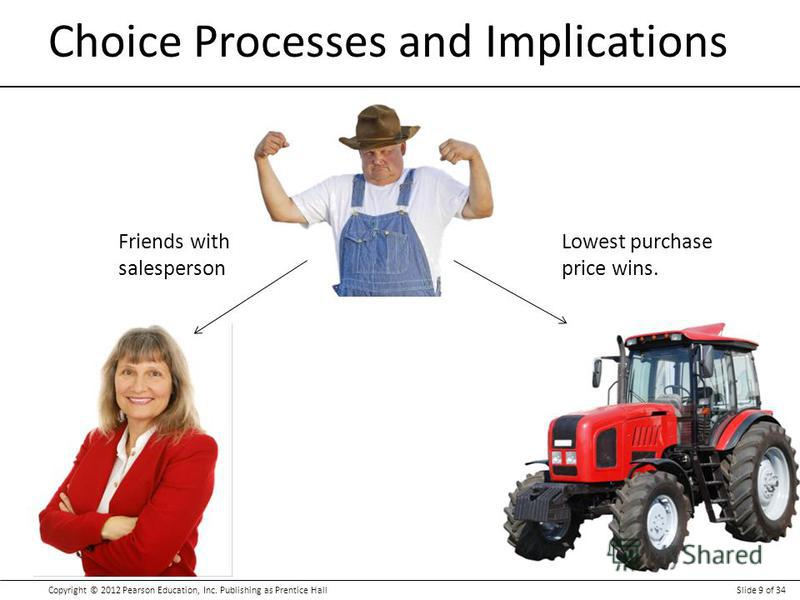 Copyright © 2012 Pearson Education, Inc. Publishing as Prentice HallSlide 9 of 34 Choice Processes and Implications Lowest purchase price wins. Friends with salesperson