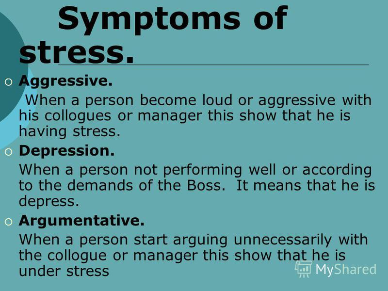 Employee Stress Definition of Stress Stress is the adverse reaction of excessive pressure people place on them from extraordinary demands constraints or opportunities. Example. When a Boss demands for 80% outcomes from an employee, but he does not pr