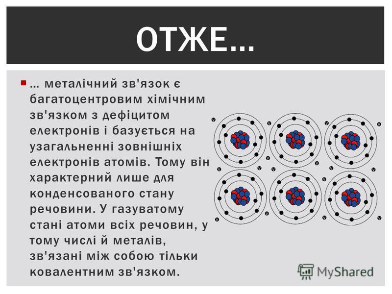 … металічний зв'язок є багатоцентровим хімічним зв'язком з дефіцитом електронів і базується на узагальненні зовнішніх електронів атомів. Тому він характерний лише для конденсованого стану речовини. У газуватому стані атоми всіх речовин, у тому числі