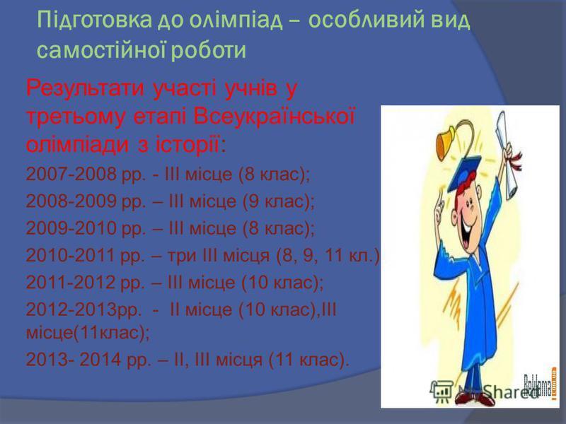 Підготовка до олімпіад – особливий вид самостійної роботи Результати участі учнів у третьому етапі Всеукраїнської олімпіади з історії: 2007-2008 рр. - III місце (8 клас); 2008-2009 рр. – III місце (9 клас); 2009-2010 рр. – III місце (8 клас); 2010-20