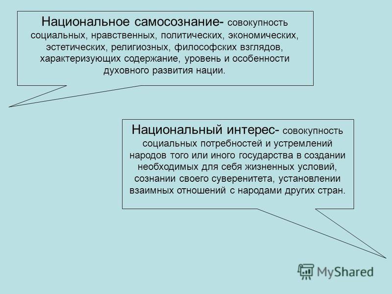 Национальное самосознание- совокупность социальных, нравственных, политических, экономических, эстетических, религиозных, философских взглядов, характеризующих содержание, уровень и особенности духовного развития нации. Национальный интерес- совокупн