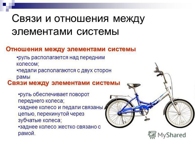 Связи и отношения между элементами системы Связи между элементами системы Отношения между элементами системы руль располагается над передним колесом; педали располагаются с двух сторон рамы руль обеспечивает поворот переднего колеса; заднее колесо и