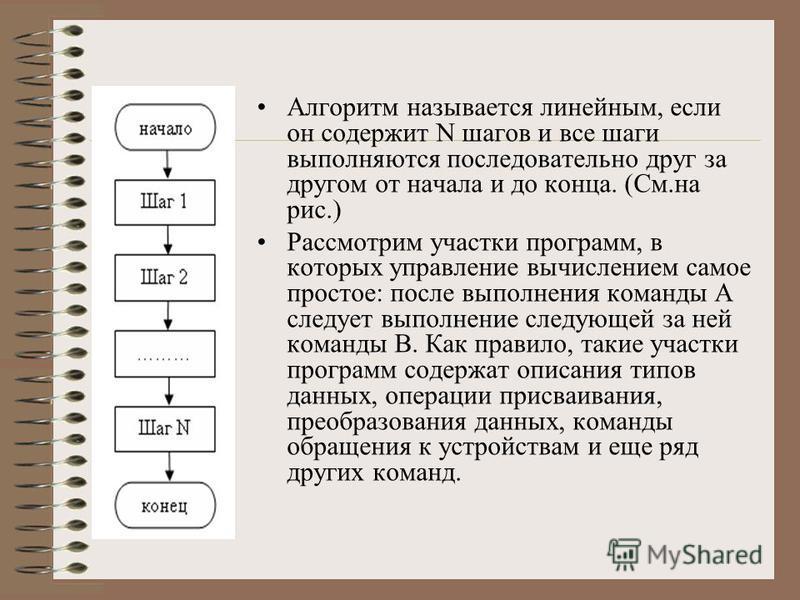 Основные типы алгоритмов. Каждую программу, описывающую алгоритм решения той или иной задачи, можно представить себе как последовательность команд, которые необходимо произвести над данными, и некоторых управляющих команд, которые указывают последова