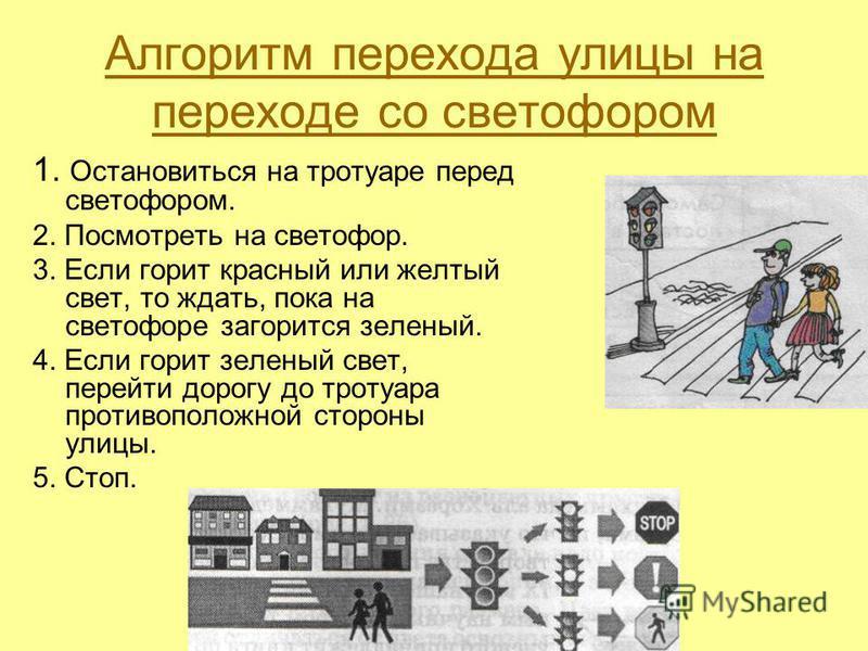 Алгоритм перехода улицы на переходе со светофором 1. Остановиться на тротуаре перед светофором. 2. Посмотреть на светофор. 3. Если горит красный или желтый свет, то ждать, пока на светофоре загорится зеленый. 4. Если горит зеленый свет, перейти дорог