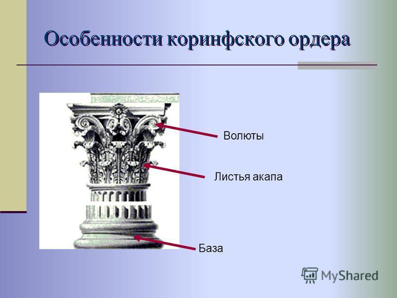 Особенности коринфского ордера Волюты Листья анапа База