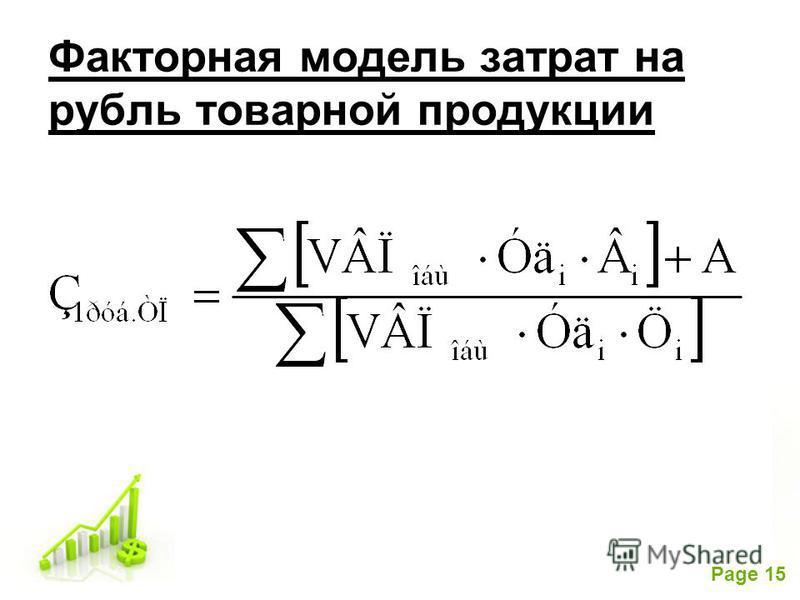 Free Powerpoint Templates Page 15 Факторная модель затрат на рубль товарной продукции