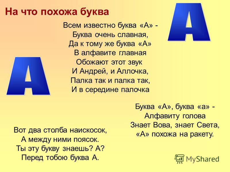 На что похожа буква Буква «А», буква «а» - Алфавиту голова Знает Вова, знает Света, «А» похожа на ракету. Вот два столба наискосок, А между ними поясок. Ты эту букву знаешь? А? Перед тобою буква А. Всем известно буква «А» - Буква очень славная, Да к