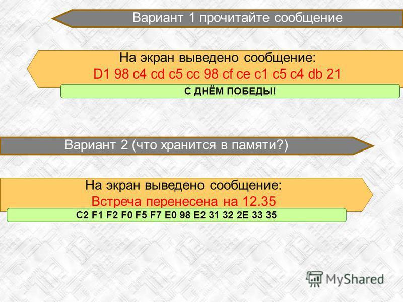 Вариант 1 прочитайте сообщение На экран выведено сообщение: D1 98 c4 cd c5 cc 98 cf ce c1 c5 c4 db 21 Вариант 2 (что хранится в памяти?) На экран выведено сообщение: Встреча перенесена на 12.35 С ДНЁМ ПОБЕДЫ! C2 F1 F2 F0 F5 F7 E0 98 E2 31 32 2E 33 35