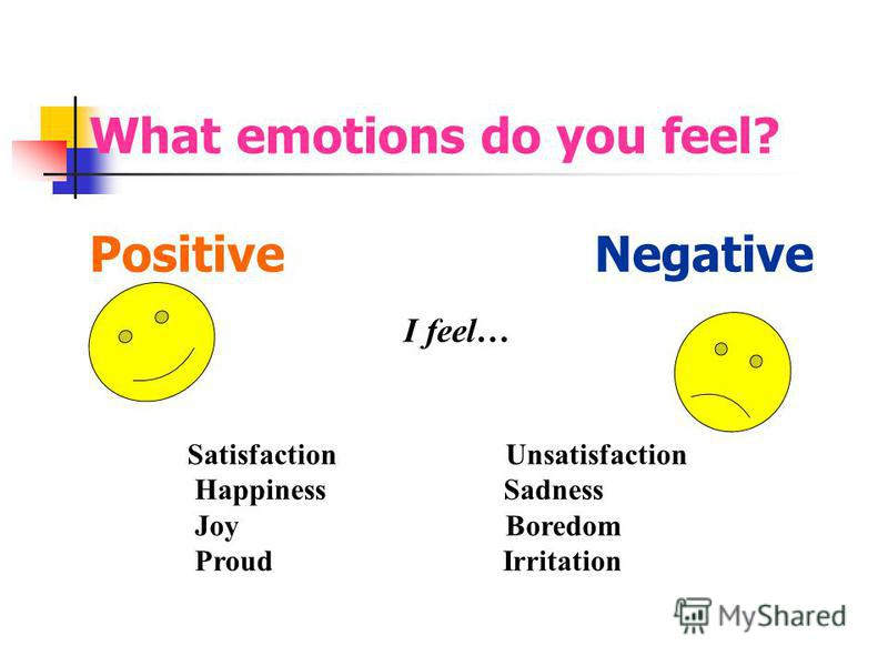What emotions do you feel? Positive Negative Satisfaction Unsatisfaction Happiness Sadness Joy Boredom Proud Irritation I feel…