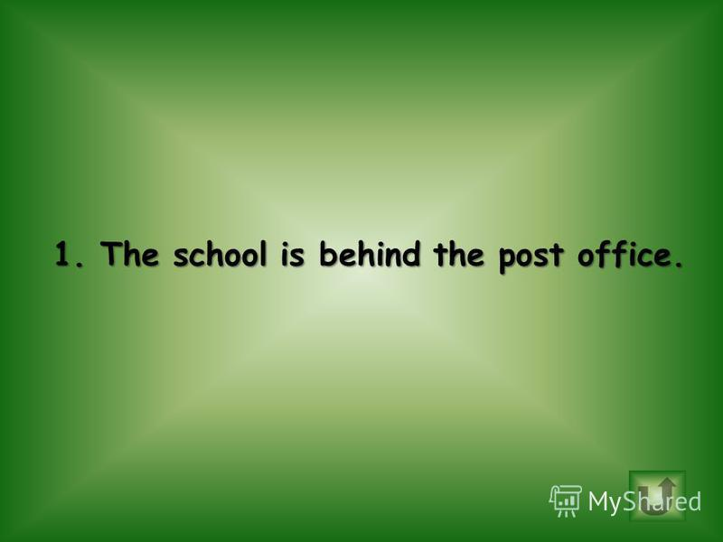 Choose correct sentence. 1.The school is behind the post office. 2.The bank is next to the store.