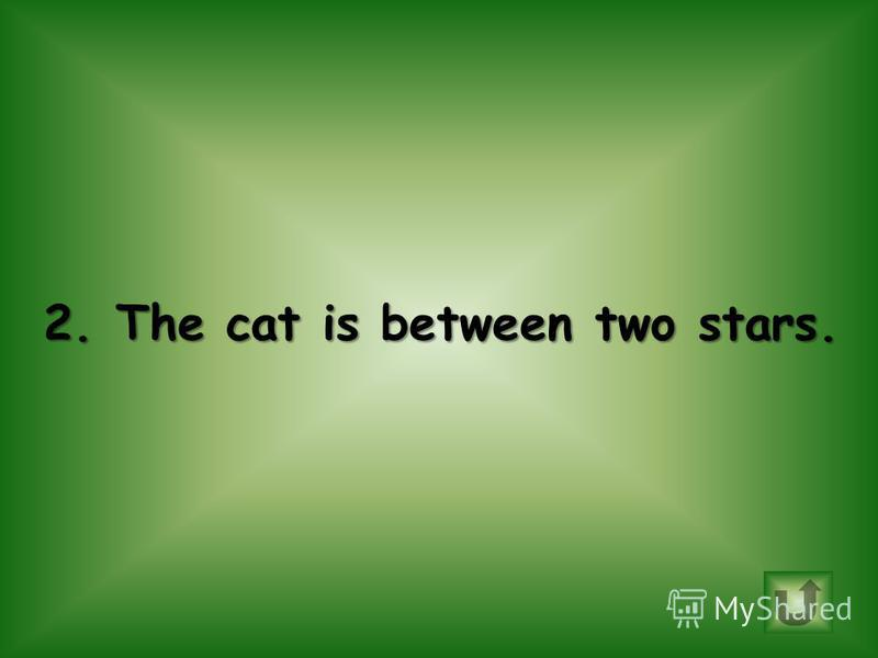 Choose correct sentence. 1.The moon is above the cat. 2.The cat is between two stars.