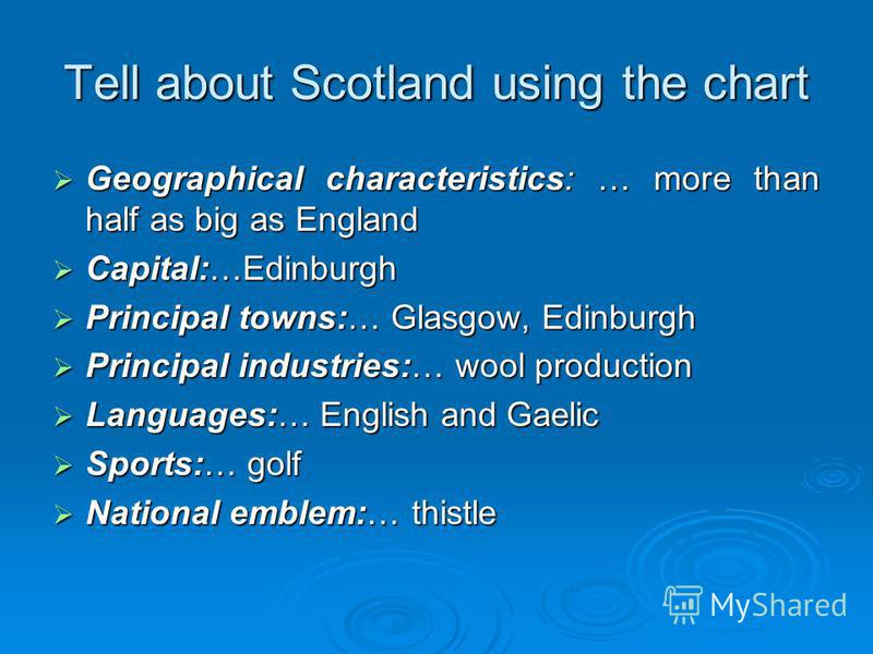 Tell about Scotland using the chart Geographical characteristics: … more than half as big as England Geographical characteristics: … more than half as big as England Capital:…Edinburgh Capital:…Edinburgh Principal towns:… Glasgow, Edinburgh Principal