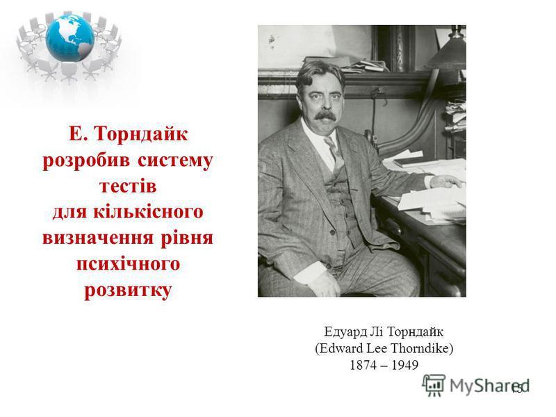 15 Едуард Лі Торндайк (Edward Lee Thorndike) 1874 – 1949 Е. Торндайк розробив систему тестів для кількісного визначення рівня психічного розвитку