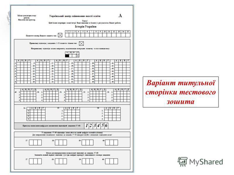 Варіант титульної сторінки тестового зошита