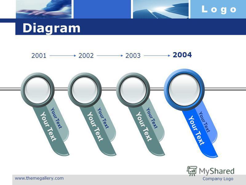 L o g o www.themegallery.com Company Logo Diagram Your Text 200120022003 2004