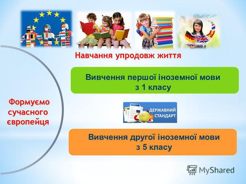 Формуємо сучасного європейця Формуємо сучасного європейця Навчання упродовж життя Навчання упродовж життя Вивчення першої іноземної мови з 1 класу Вивчення другої іноземної мови з 5 класу