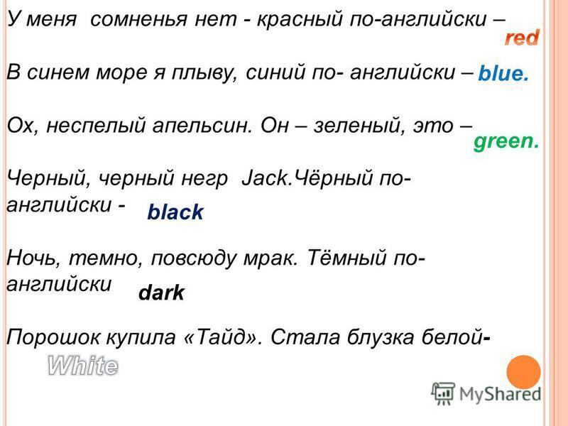 У меня сомненья нет - красный по-английски – В синем море я плыву, синий по- английски – Ох, неспелый апельсин. Он – зеленый, это – Черный, черный негр Jack.Чёрный по- английски - Ночь, темно, повсюду мрак. Тёмный по- английски Порошок купила «Тайд».