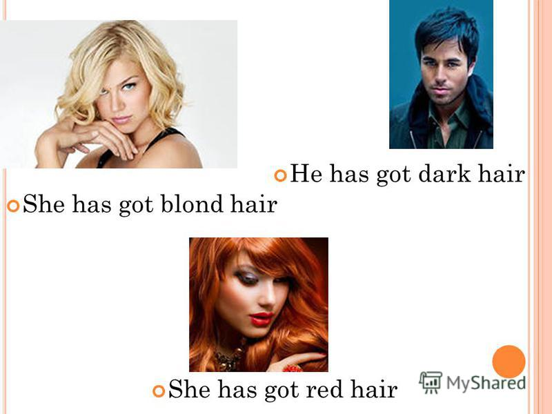 She has got blond hair He has got dark hair She has got red hair
