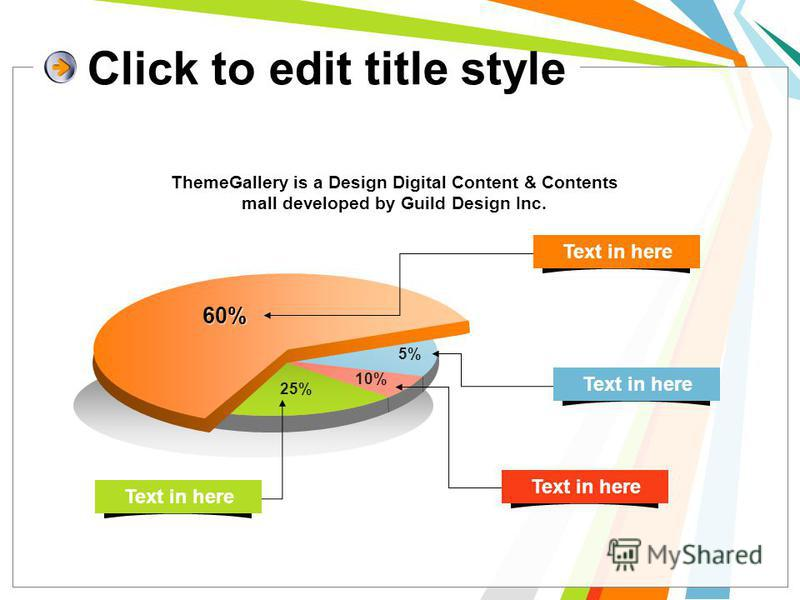 Click to edit title style 70 % 10% 5% 60% 25% ThemeGallery is a Design Digital Content & Contents mall developed by Guild Design Inc. Text in here