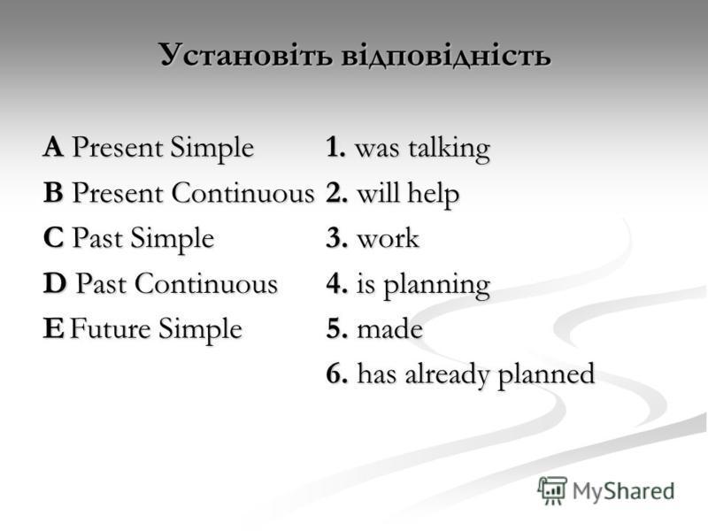 Установіть відповідність А Present Simple1. was talking B Present Continuous2. will help C Past Simple3. work D Past Continuous 4. is planning EFuture Simple5. made 6. has already planned