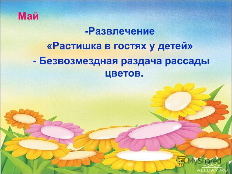 Май -Развлечение «Растишка в гостях у детей» - Безвозмездная раздача рассады цветов.