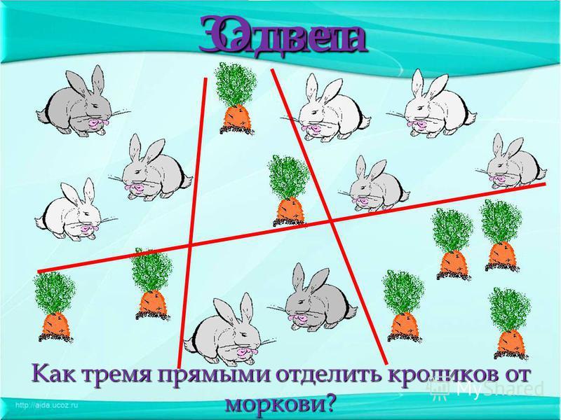 Как тремя прямыми отделить кроликов от моркови? Задача Ответ
