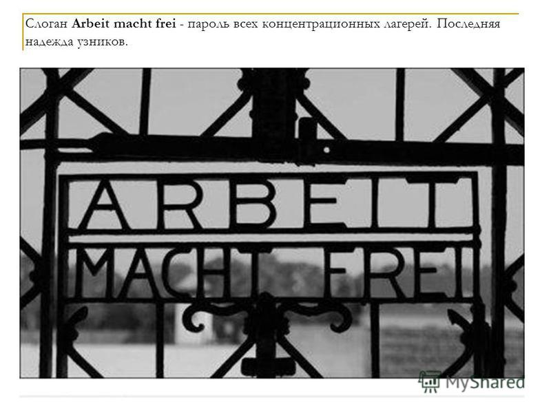 Слоган Arbeit macht frei - пароль всех концентрационных лагерей. Последняя надежда узников.