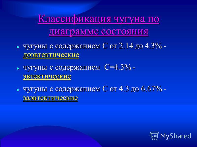 Классификация чугуна по диаграмме состояния чугуны с содержанием С от 2.14 до 4.3% - доэвтектические чугуны с содержанием С от 2.14 до 4.3% - доэвтектические чугуны с содержанием С=4.3% - эвтектические чугуны с содержанием С=4.3% - эвтектические чугу