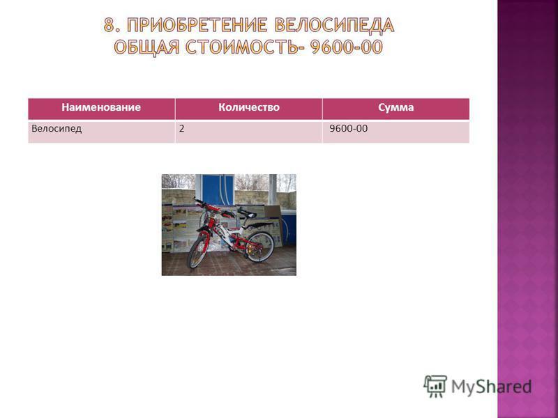 Наименование КоличествоСумма Велосипед 29600-00