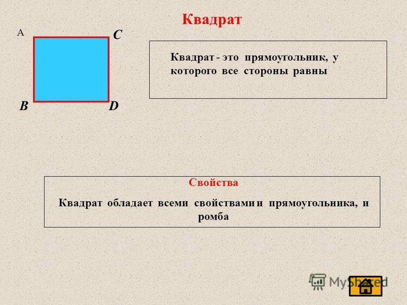 Квадрат A C BD Квадрат - это прямоугольник, у которого все стороны равны Свойства Квадрат обладает всеми свойствами и прямоугольника, и ромба