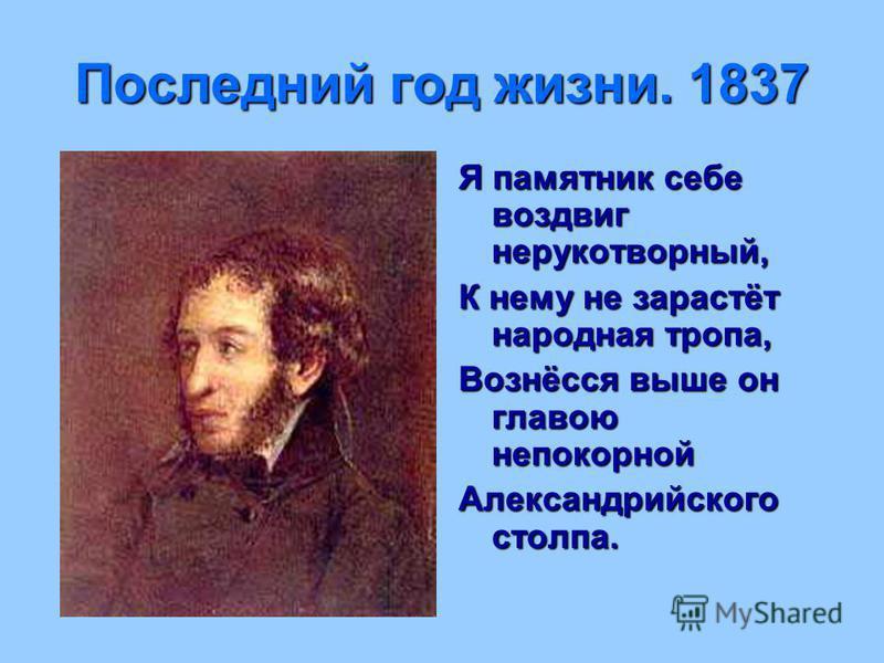 Последний год жизни. 1837 Я памятник себе воздвиг нерукотворный, К нему не зарастёт народная тропа, Вознёсся выше он главою непокорной Александрийского столпа.