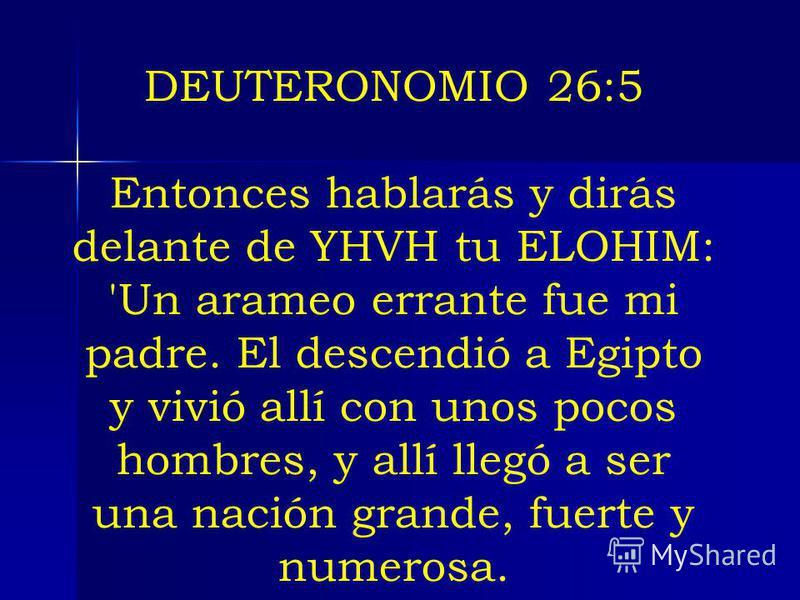 DEUTERONOMIO 26:5 Entonces hablarás y dirás delante de YHVH tu ELOHIM: 'Un arameo errante fue mi padre. El descendió a Egipto y vivió allí con unos pocos hombres, y allí llegó a ser una nación grande, fuerte y numerosa.