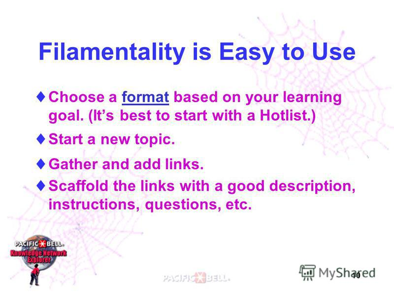 10 Filamentality is Easy to Use Choose a format based on your learning goal. (Its best to start with a Hotlist.)format Start a new topic. Gather and add links. Scaffold the links with a good description, instructions, questions, etc.