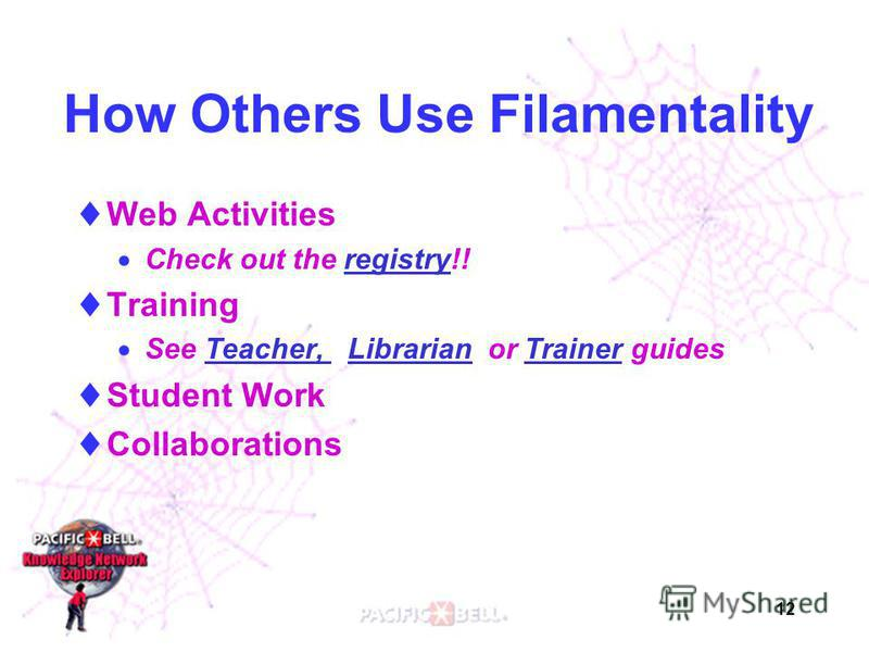 12 How Others Use Filamentality Web Activities Check out the registry!!registry Training See Teacher, Librarian or Trainer guidesTeacher, LibrarianTrainer Student Work Collaborations