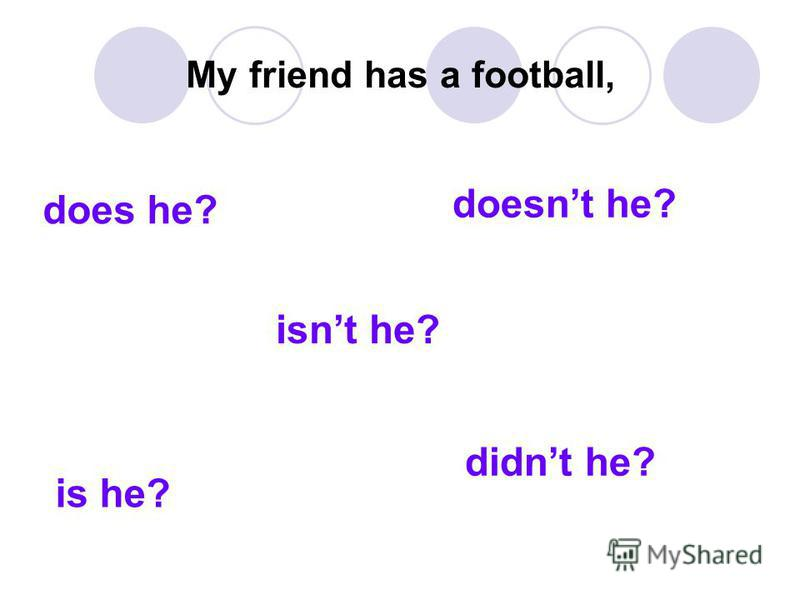 My friend has a football, does he? isnt he? didnt he? is he? doesnt he?