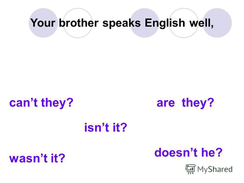 Your brother speaks English well, cant they? are they? wasnt it? isnt it? doesnt he?