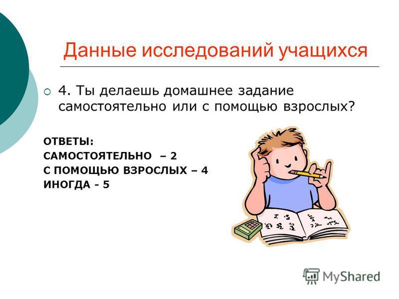 Данные исследований учащихся 4. Ты делаешь домашнее задание самостоятельно или с помощью взрослых? ОТВЕТЫ: САМОСТОЯТЕЛЬНО – 2 С ПОМОЩЬЮ ВЗРОСЛЫХ – 4 ИНОГДА - 5