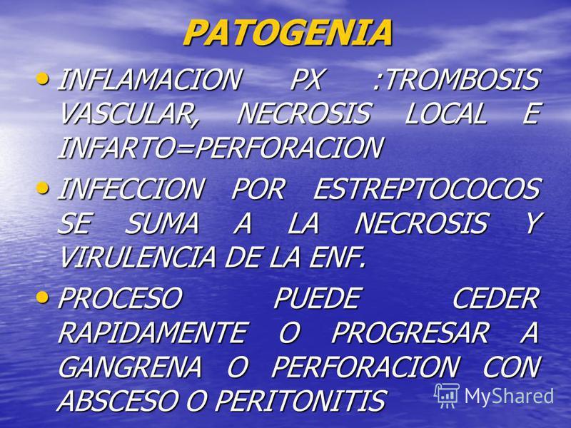 PATOGENIA INFLAMACION INCLUYE TODAS LAS CAPAS DEL ORGANO INFLAMACION INCLUYE TODAS LAS CAPAS DEL ORGANO EMPIEZA COMO ULCERACION FOCAL O FLEMON DIFUSO EMPIEZA COMO ULCERACION FOCAL O FLEMON DIFUSO SIGNOS DE UN PUNTO DE OBSTRUCCION X FECALITO O ESTRECH