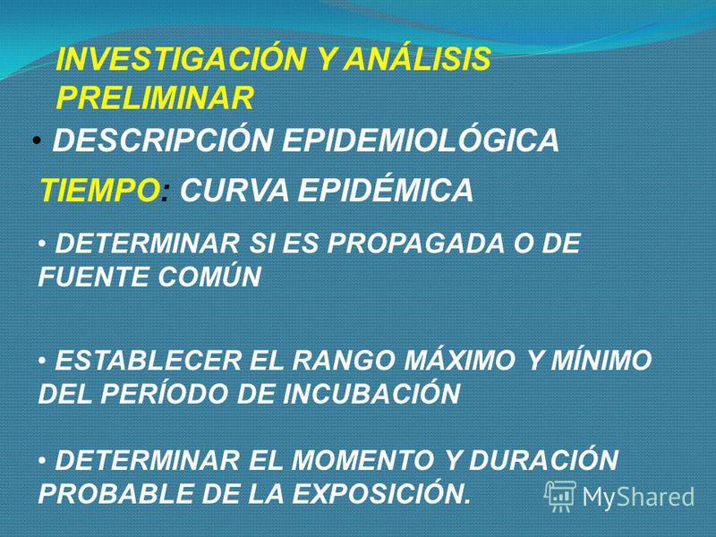 INVESTIGACIÓN Y ANÁLISIS PRELIMINAR IDENTIFICAR Y CONTAR LOS CASOS CONFIRMAR LA EXISTENCIA DE BROTE O EPIDEMIA - COMPARAR CON LA INCIDENCIA ESPERADA