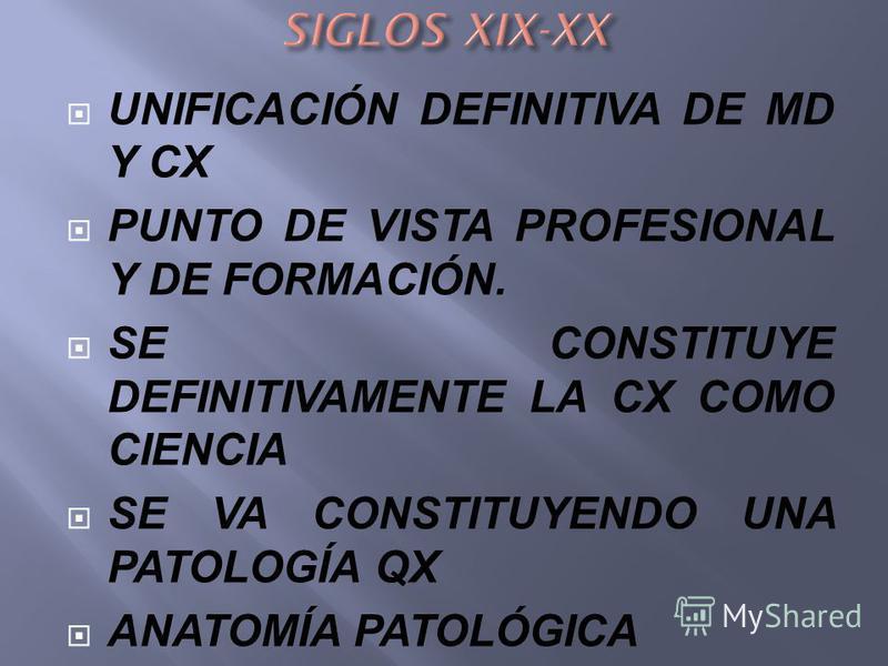 CX ESTUDIA SX DE LAS ENFERMEDADES SUS CAUSAS Y COMIENZA A VALORAR LA INDICACIÓN OPERATORIA. CX PASAN A SER LOS QUE IMPARTEN LA DOCENCIA DE LA MEDICINA QX ENFERMEDADES CON TRATAMIENTO QX QUE ESTUDIAN EN EL CADÁVER