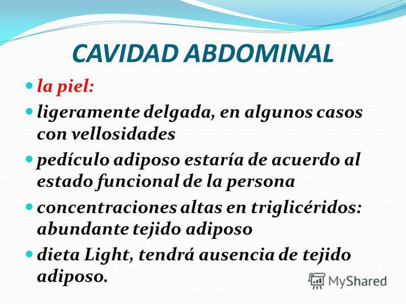 CAVIDAD ABDOMINAL Piramidal del Abdomen: Músculo ligeramente piramidal, pequeño, que se extiende desde el punto medio entre la cicatriz umbilical y la sínfisis del pubis. Función: - Tensar la línea alba Irrigado: - Arteria epigástrica inferior Inerva