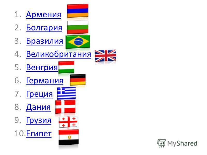 1.АрменияАрмения 2.БолгарияБолгария 3.БразилияБразилия 4.ВеликобританияВеликобритания 5.ВенгрияВенгрия 6.ГерманияГермания 7.ГрецияГреция 8.ДанияДания 9.ГрузияГрузия 10.ЕгипетЕгипет