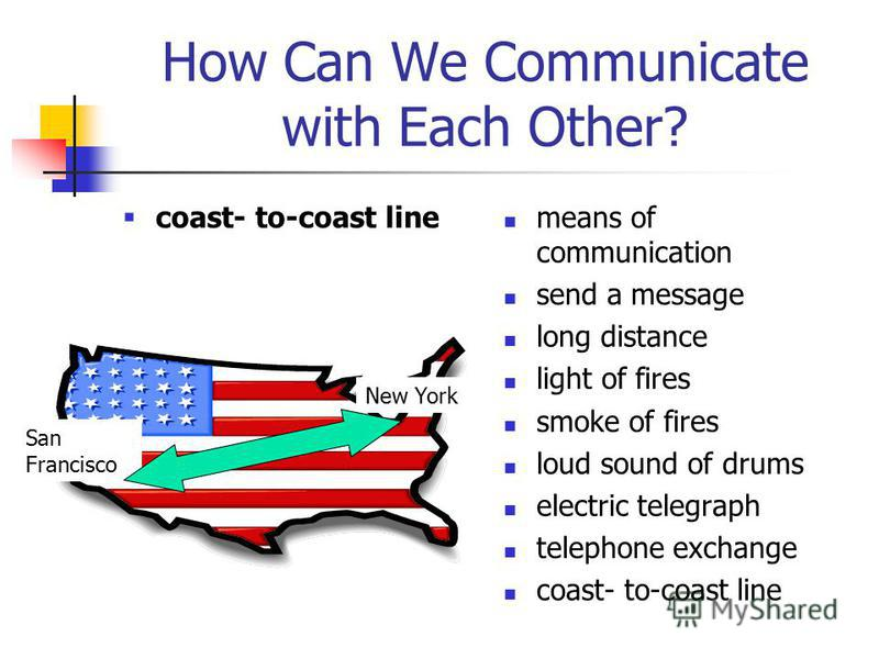 How Can We Communicate with Each Other? coast- to-coast line means of communication send a message long distance light of fires smoke of fires loud sound of drums electric telegraph telephone exchange coast- to-coast line New York San Francisco