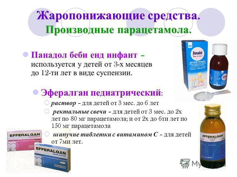 Жаропонижающие средства. Производные парацетамола. Панадол беби енд инфант – используется у детей от 3- х месяцев до 12- ти лет в виде суспензии. Эфералган педиатрический : раствор – для детей от 3 мес. до 6 лет ректальные свечи – для детей от 3 мес.